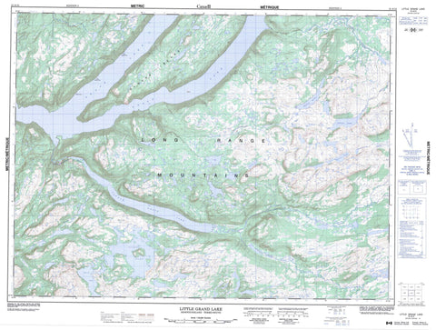 012A12 Little Grand Lake Canadian topographic map, 1:50,000 scale