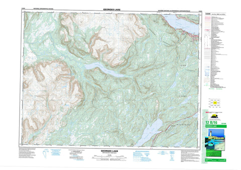 012B16 Georges Lake Canadian topographic map, 1:50,000 scale