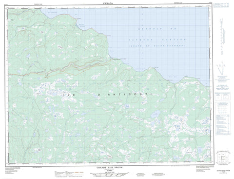 012E08 Grande Baie Broom Canadian topographic map, 1:50,000 scale
