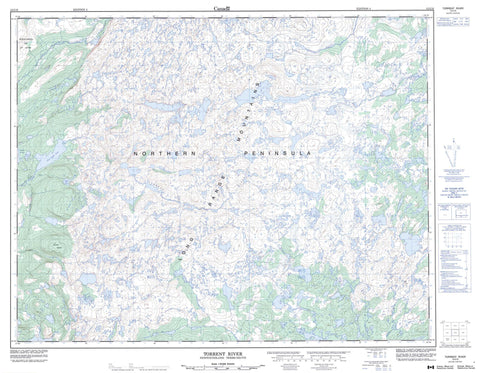 012I10 Torrent River Canadian topographic map, 1:50,000 scale