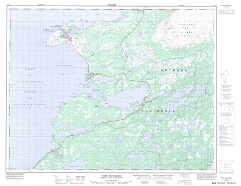 012I11 Port Saunders Canadian topographic map, 1:50,000 scale