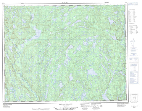 012L16 Lac Gaudreault Canadian topographic map, 1:50,000 scale