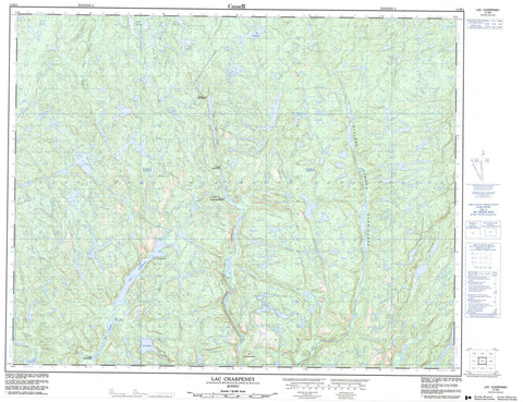 012M04 Lac Charpeney Canadian topographic map, 1:50,000 scale