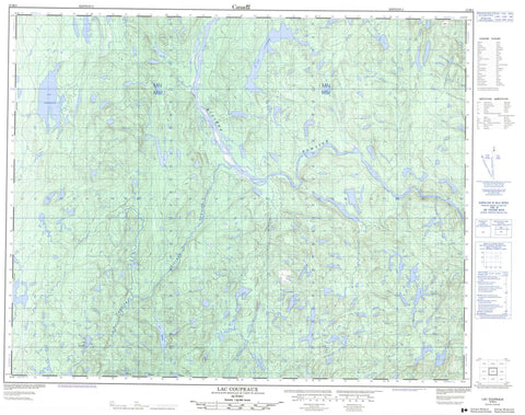 012M05 Lac Coupeaux Canadian topographic map, 1:50,000 scale