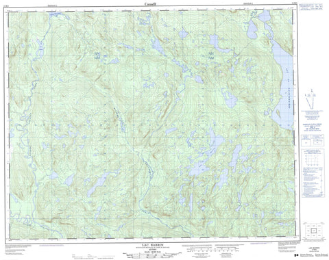 012M08 Lac Barrin Canadian topographic map, 1:50,000 scale