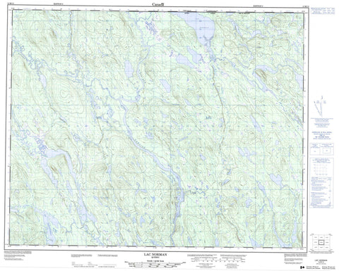 012M13 Lac Norman Canadian topographic map, 1:50,000 scale