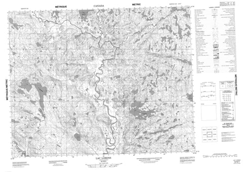 012N07 Lac Lorens Canadian topographic map, 1:50,000 scale