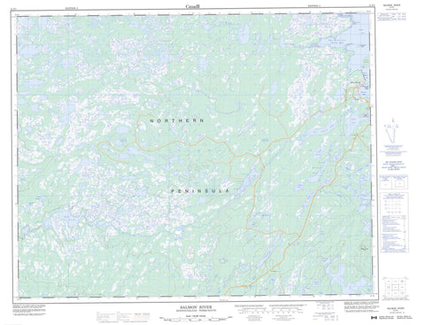 012P01 Salmon River Canadian topographic map, 1:50,000 scale