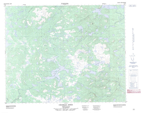 013A01 Chateau Pond Canadian topographic map, 1:50,000 scale