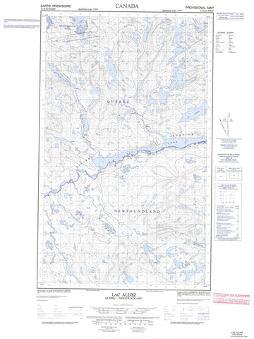 013D12W Lac Alliez Canadian topographic map, 1:50,000 scale