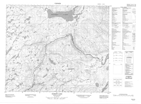 013H12 Barron Lake Canadian topographic map, 1:50,000 scale