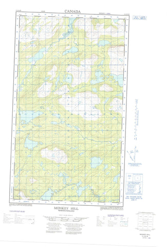 013J14W Monkey Hill Canadian topographic map, 1:50,000 scale