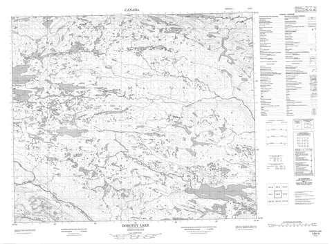 013K04 Dorothy Lake Canadian topographic map, 1:50,000 scale