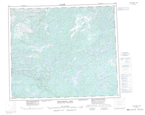 013K Snegamook Lake Canadian topographic map, 1:250,000 scale