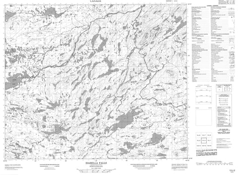 013L02 Isabella Falls Canadian topographic map, 1:50,000 scale