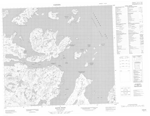 013N15 Davis Inlet Canadian topographic map, 1:50,000 scale