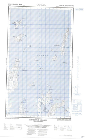 013O02W Ironbound Islands Canadian topographic map, 1:50,000 scale