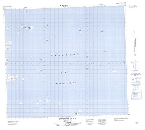 014C07 Satoaluk Island Canadian topographic map, 1:50,000 scale