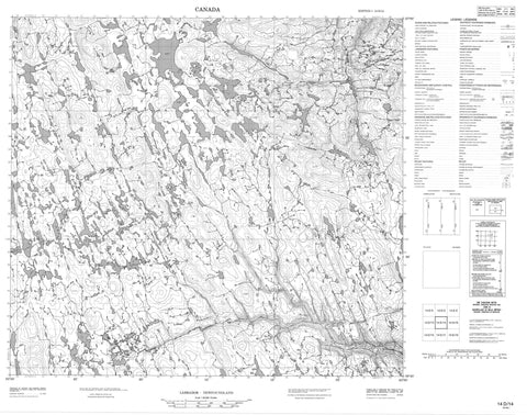 014D14 No Title Canadian topographic map, 1:50,000 scale