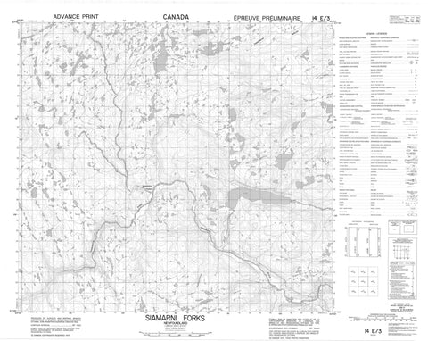 014E03 Siamarni Forks Canadian topographic map, 1:50,000 scale