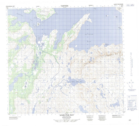 014F04 Avakutak Bay Canadian topographic map, 1:50,000 scale