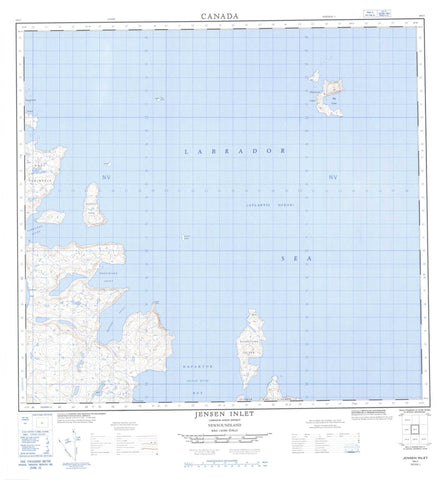014L01 Jensen Inlet Canadian topographic map, 1:50,000 scale