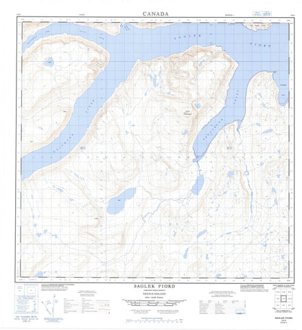014L06 Saglek Fiord Canadian topographic map, 1:50,000 scale