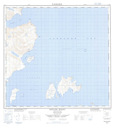014L10 Saglek Bight Canadian topographic map, 1:50,000 scale