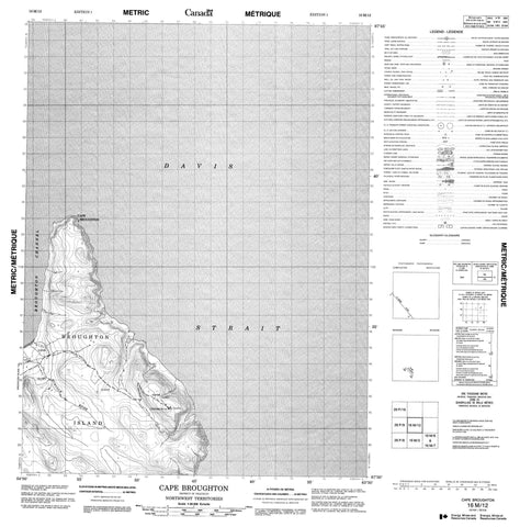 016M12 Cape Broughton Canadian topographic map, 1:50,000 scale