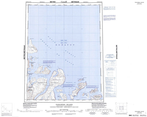 016M Padloping Island Canadian topographic map, 1:250,000 scale