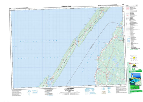 021B08 Church Point Canadian topographic map, 1:50,000 scale