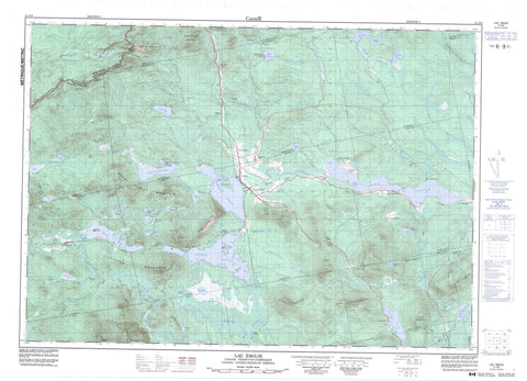 021E09 Lac Emilie Canadian topographic map, 1:50,000 scale