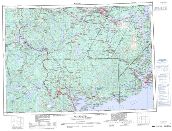 021G Fredericton Canadian topographic map, 1:250,000 scale