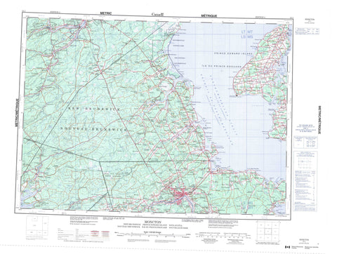 021I Moncton Canadian topographic map, 1:250,000 scale