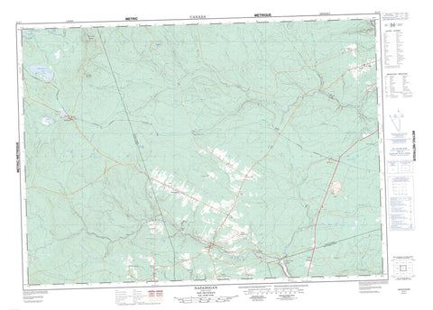 021J07 Napadogan Canadian topographic map, 1:50,000 scale