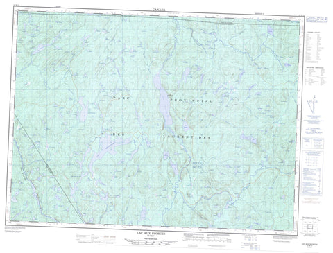 021M13 Lac Aux Ecorces Canadian topographic map, 1:50,000 scale