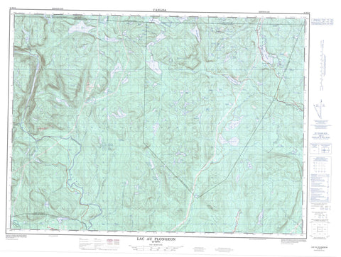 021M16 Lac Au Plongeon Canadian topographic map, 1:50,000 scale