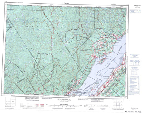 021M Baie Saint Paul Canadian topographic map, 1:250,000 scale