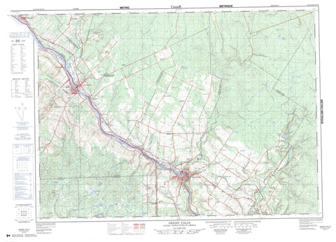 021O04 Grand Falls Canadian topographic map, 1:50,000 scale