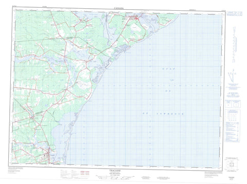 021P10 Tracadie Canadian topographic map, 1:50,000 scale