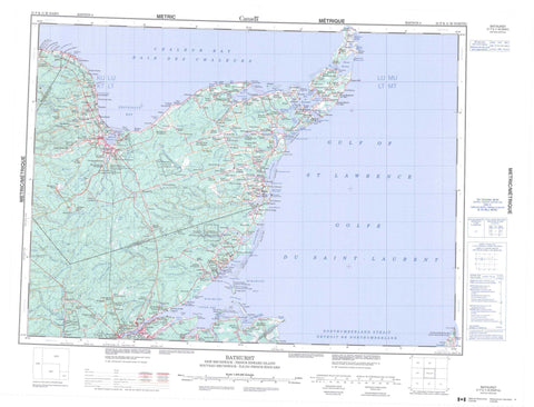 021P Bathurst Canadian topographic map, 1:250,000 scale