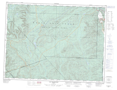 022A13 Lac Madeleine Canadian topographic map, 1:50,000 scale