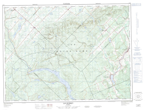022B05 Lac Humqui Canadian topographic map, 1:50,000 scale