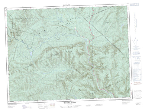 022B09 Monts Berry Canadian topographic map, 1:50,000 scale