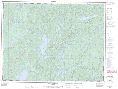 022F13 Lac Dissimieux Canadian topographic map, 1:50,000 scale