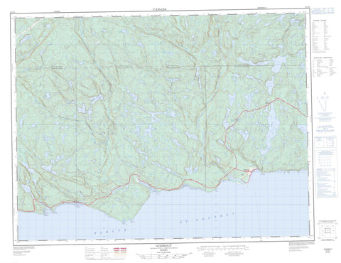 022G05 Godbout Canadian topographic map, 1:50,000 scale