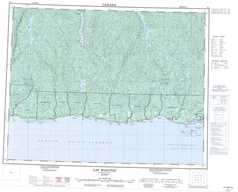 022I Lac Manitou Canadian topographic map, 1:250,000 scale