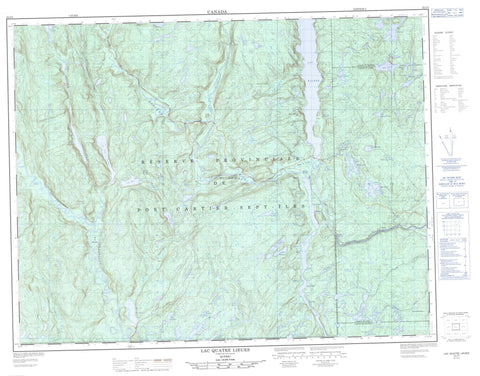 022J03 Lac Quatre Lieues Canadian topographic map, 1:50,000 scale