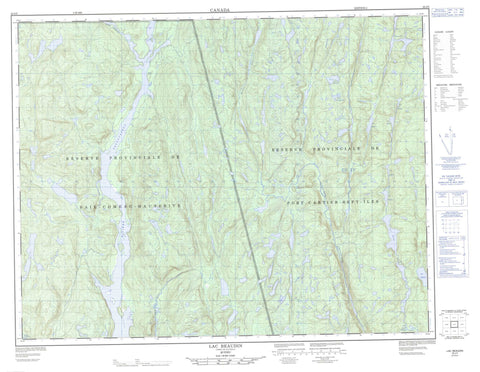 022J05 Lac Beaudin Canadian topographic map, 1:50,000 scale