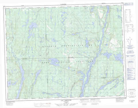 022J07 Lac Asquiche Canadian topographic map, 1:50,000 scale
